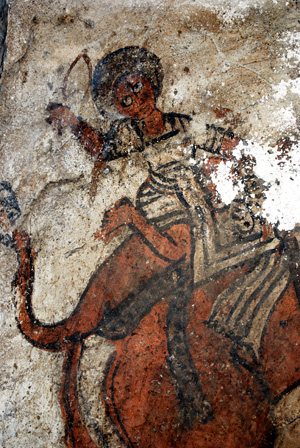 25. Elephant scen, 300 detail. Lower mural, west wall, northern aisle. Photo Lars Gerdmar