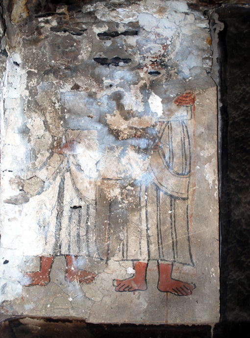 Skada, helbildigen, Two Saints. Upper left mural, east wall, northern aisle. Photo Lars Gerdmar