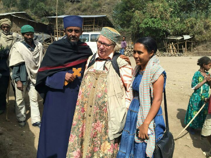Helena in Ethiopia February 13 2016, in company by Abba Haile Gabriel and Vz Adera (ARCCH)
